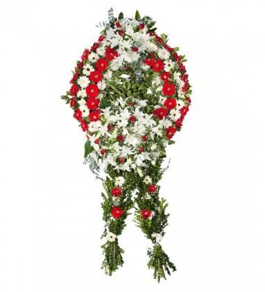 Gerbera-Lilyum Çiçekleri Ayaklı Çelenk