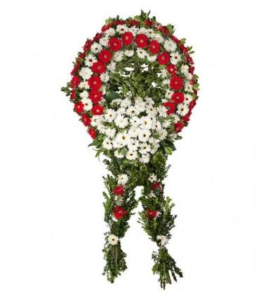 Kırmızı-Beyaz Gerberalar Ayaklı Cenaze Çelenk