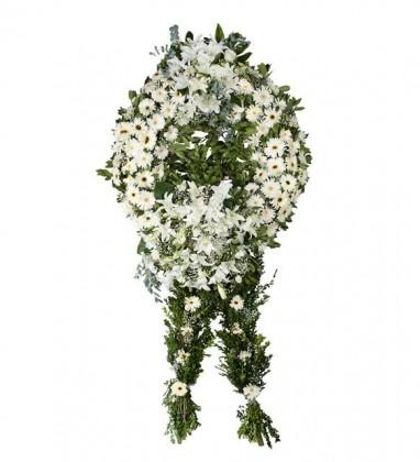 Gerbera-Lilyum Beyaz Tek Katlı Çelenk