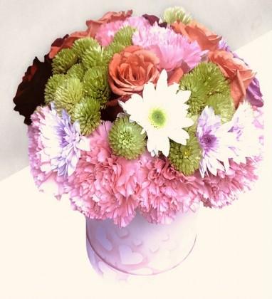 Kutuda Renkli Çiçek Aranjmanı